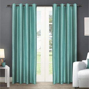 Exclusive Home Chatra Teal Faux Silk Curtains